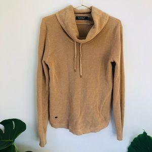 Ralph Lauren S brown thermal cowl pullover sweater